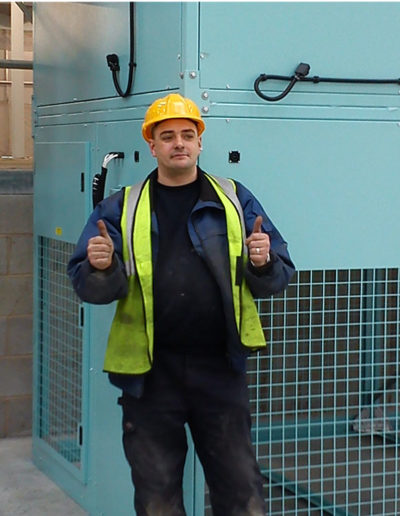 Andy Smith, CK Services Director at a recent commercial heater installation.