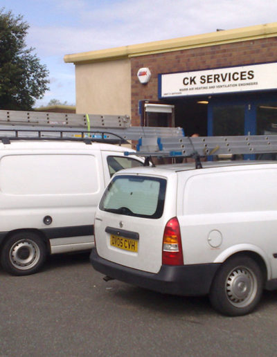 Fleet of vans outside one of the Darwen units.